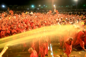 Hari bhaktas bathing in colors of love,spirituality in phool dol utsav
